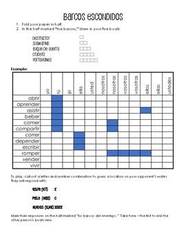Spanish Regular ER and IR Verb Conjugation Battleship-Style Game