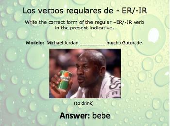 Spanish Regular ER and IR Verb Slideshow Practice
