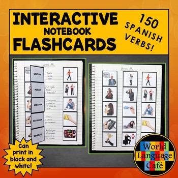 Spanish Regular, Irregular, Stem-Changing Verbs Interactive Notebook Flashcards