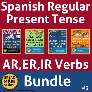 Spanish Regular Present Tense Verbs BUNDLE. Presente Verbos Regulares AR,ER,IR