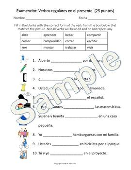 Spanish Regular Present Tense Test (ar/er/ir)