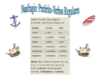 Spanish Regular Preterite Practice Activity (Shipwreck-Naufragio)