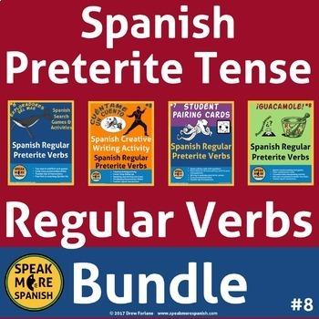 Spanish Regular Preterite Verbs Bundle #8. Verbos del Pretérito Regular Español