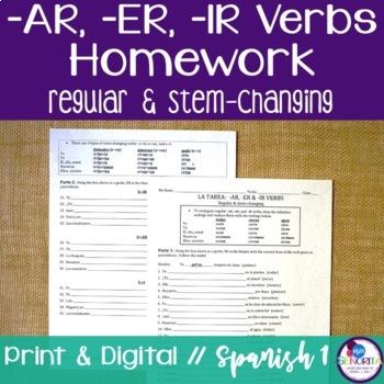 Spanish Regular & Stem-changing -AR, -ER, & -IR verbs Homework