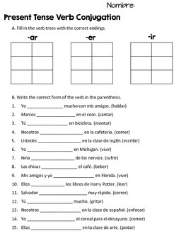 Spanish Regular Verb Conjugation Practice