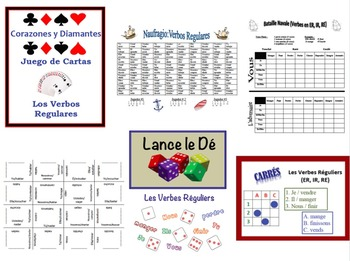 6 French and Spanish Activities with Regular Verbs (FREEBIE)