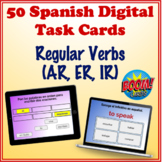 Spanish Regular Verbs (AR, ER, IR) Digital Task Cards (50