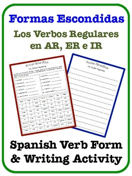 Spanish Regular Verbs (AR, IR, ER) Writing Activity