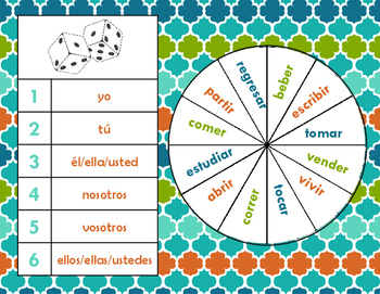 Spanish Regular Verbs Dice & Spinner Review Game