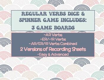 Spanish Regular Verbs Dice & Spinner Review Game