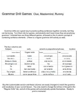 Spanish Regular Verbs Grammar Games: Clue, Mastermind, Rummy