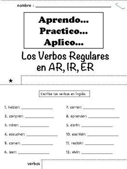 Spanish Regular Verbs Tab Book