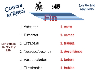 Spanish Regular (ar,er,ir) Verb Writing Activity, Powerpoint
