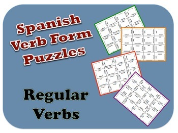 "Spanish Regular  ""ar,ir,er"" Verb Form Puzzle Activity"