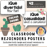 Spanish Rejoinders Posters (Cactus Design) - 40 phrases!