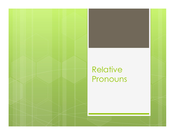 Spanish Relative Pronoun Notes
