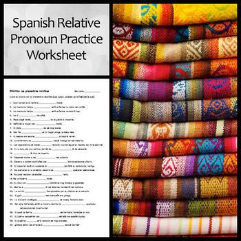 Spanish Relative Pronoun Practice Worksheet