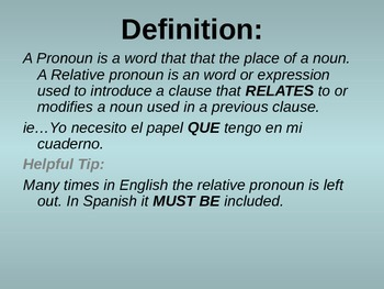 Spanish Relative Pronouns