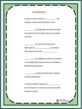Spanish Report Card Comments Perfect For End Of The Year (Editable)
