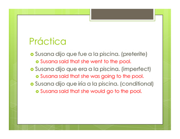 Spanish Reported Speech Notes