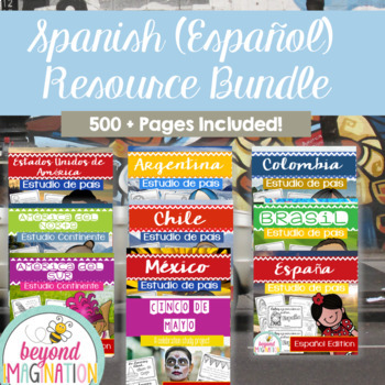Spanish Books Bundle Booklet Country Study Project Units Bundle 500+ Pages