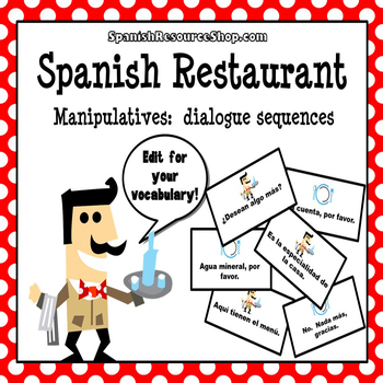 Spanish Restaurant Dialogue Sequence Manipulatives