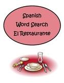 Spanish Restaurant El Restaurante Word Search Puzzle