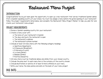 spanish restaurant menu project Menu project - click here for directions for your project menu sample - click here for a sample menu  click here for a list of many different food/drinks in spanish.