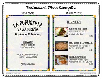 spanish food menu example