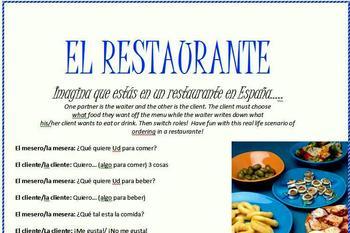Spanish Restaurant Role Play Activity!!