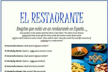 Spanish Restaurant Role Play Activity!!