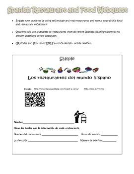 Spanish Restaurant and Food Webquest - La Comida