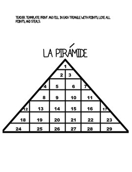 Spanish Review Game - Pirámide