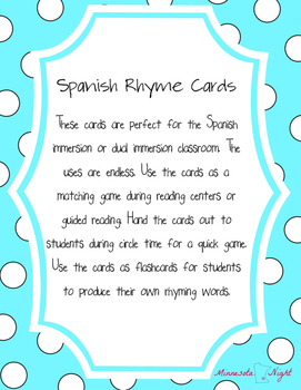 Spanish Rhyme Cards