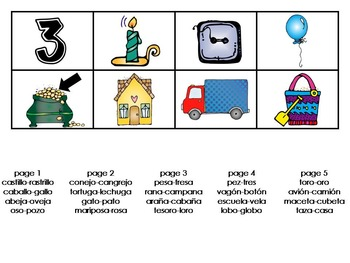 Spanish Rhyming Activity Cards (phonological awareness)