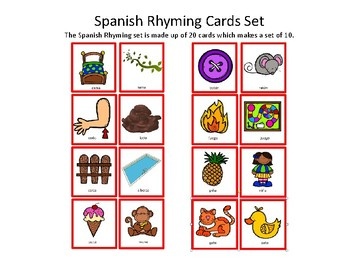 spanish rhyming cards palabras de rima by mountvolcano tpt. Black Bedroom Furniture Sets. Home Design Ideas