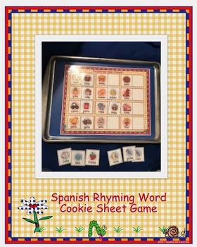 Spanish Rhyming Word Cookie Sheet Game