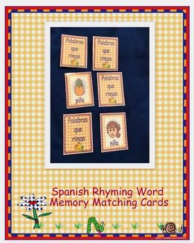 Spanish Rhyming Word Memory Matching Cards