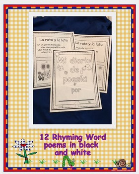 Spanish Rhyming Word Poems in Black and White