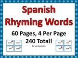 Spanish Rhyming Words 240 Cards - Tarjetas de Rimas en Espanol
