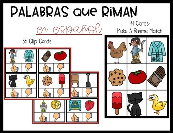 Spanish Rhyming Words Clip Cards