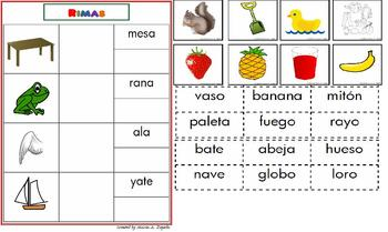 Spanish Rhyming Words Mats