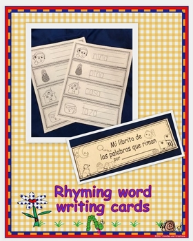 Spanish Rhyming Words Writing Cards Black and White