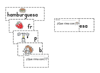 Spanish Rimas Flip-able booklet with -ESA