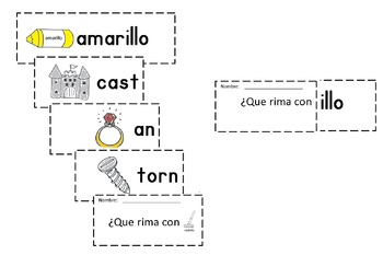Spanish Rimas Flip-able booklet with -ILLO