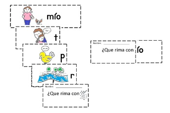 Spanish Rimas Flip-able booklet with -IO