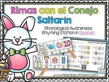 Spanish: Rimas con el Conejo Saltarin (phonological awareness rhyming station)