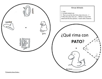 Spanish Rimas Circle with -ATO Circle and Drawing activity c-scope common core