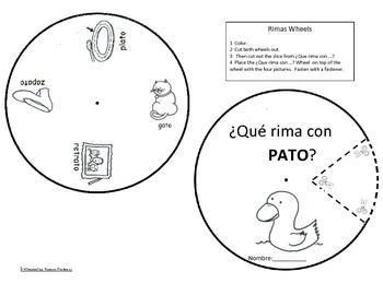 Spanish Rimas Circle with -ATO Circle and Drawing activity