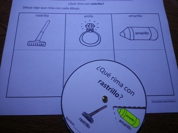 Spanish Rimas Circle with -ILLO and Drawing activity c-scope common core